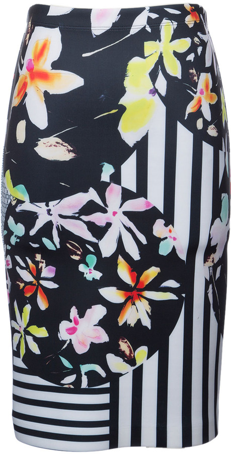 Clover Canyon - Knee Length Neoprene Floral Skirt