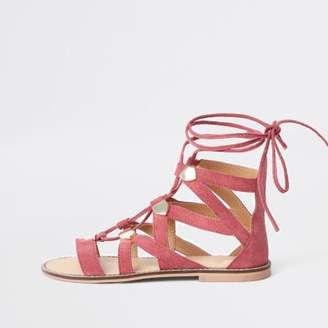 River Island Womens Pink suede caged tie up sandal