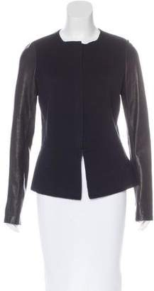 Vince Leather-Trimmed Wool Jacket