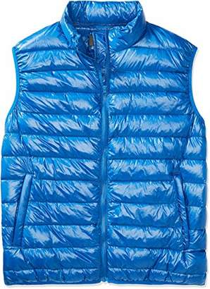 The Plus Project Men's Plus Size Quilted Down Vest with Stand Collar 2X-Large Blue
