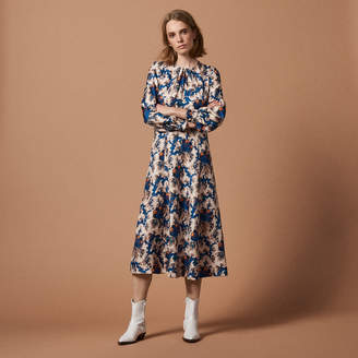 Sandro All-over print long silk dress
