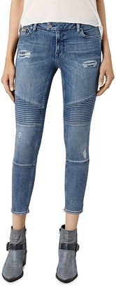 ALLSAINTS Distressed Moto Skinny Ankle Jeans in Indigo Blue $178 thestylecure.com