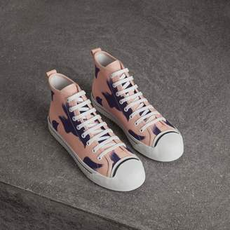 Burberry Bird Print Canvas High-top Sneakers