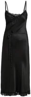 Ann Demeulemeester Ruffle Trimmed Tie Waist Satin Dress - Womens - Black