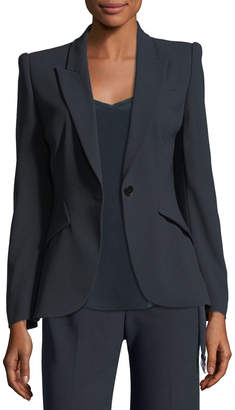 Elie Tahari Allegra One-Button Fluid Crepe Jacket