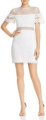 Aqua Flutter-Sleeve Lace Sheath Dress