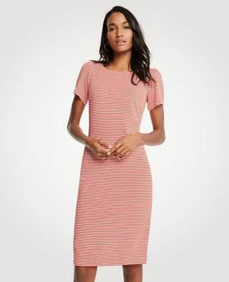 Ann Taylor Petite Striped Puff Sleeve Ponte Sheath Dress