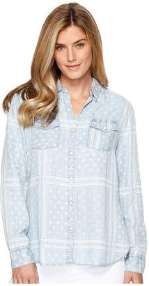 Tribal Printed Lace Lyocell Denim Shirt Women's Long Sleeve Button Up