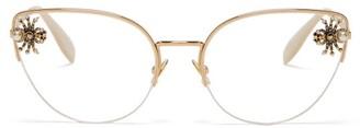 Alexander McQueen Embellished Spider Cat Eye Glasses - Womens - Gold