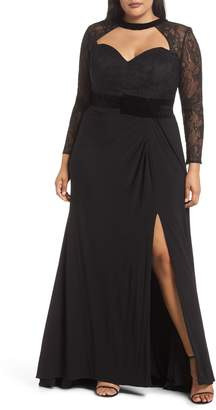 Mac Duggal Lace Sleeve Cutout Gown