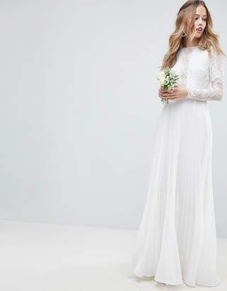 Asos Edition EDITION Long Sleeve Lace Bodice Maxi Wedding Dress with Pleated Skirt