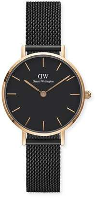 Daniel Wellington 28mm Classic Petite Ashfield Bracelet Watch, Black/Rose-Golden