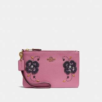 Coach Small Wristlet With Leather Sequin Applique