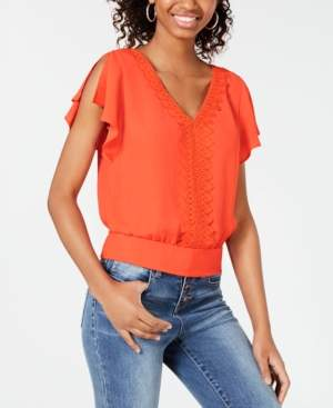 BCX Applique-Trim Tie-Hem Top