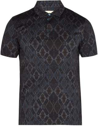 Etro Geometric Jacquard Polo Shirt - Mens - Blue