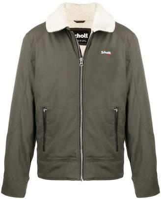 Schott oversized collar zip-up jacket