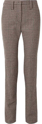 Miu Miu Houndstooth Wool-tweed Straight-leg Pants - Brown