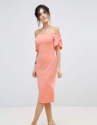 Club L Pencil Midi Dress With Sleeve Detail