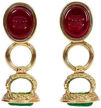 One Kings Lane Vintage Chanel Red & Green Seal Drop Earrings - Vintage Lux