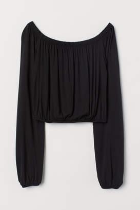 H&M Off-the-shoulder Jersey Top - Black