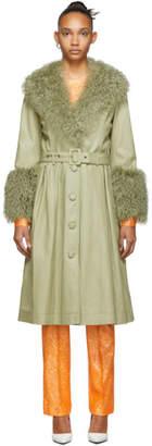 Saks Potts Green Foxy Shearling Coat