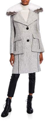 Derek Lam 10 Crosby Detachable Fur-Collar Tweed Coat