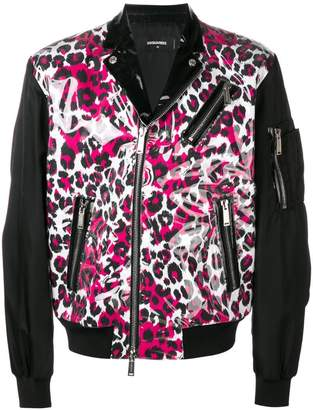 DSQUARED2 leopard biker jacket