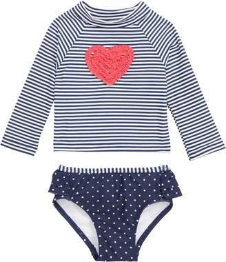 Little Me Ruffle Heart Two-Piece Rashguard Swimsuit