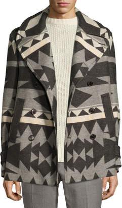 Ralph Lauren Beacon Patterned Wool Pea Coat, Gray
