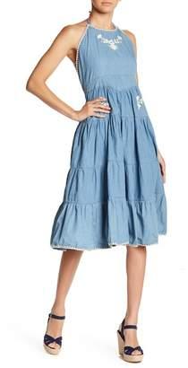 ALLISON NEW YORK Embroidered Denim Strappy Back Dress