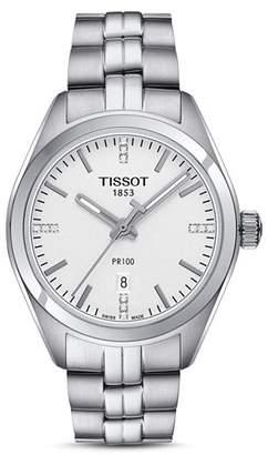 Tissot PR 100 Stainless Steel Watch with Diamonds, 33mm