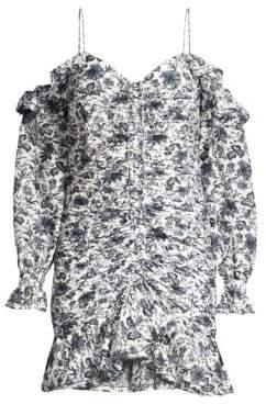 Robert Rodriguez Women's Carmen Ruched Cold-Shoulder Mini Dress - Ivory Floral - Size 4