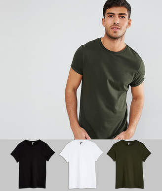 Asos Crew Neck T-Shirt With Roll Sleeve 3 Pack SAVE