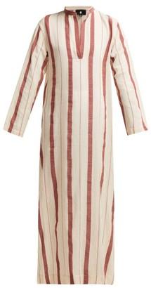 Su - Kiku Mandarin Collar Striped Cotton Kaftan - Womens - Red Stripe
