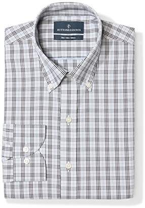 Buttoned Down Men's Slim Fit Plaid Pattern Non-Iron Dress Shirt