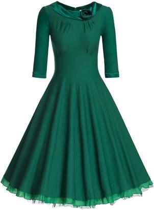 MUXXN Women's Classic 50s Flattering Cocktail Party Dresses ( L)