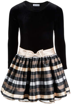 Bonnie Jean Big Girls Plus Velvet Jacquard Striped Dress