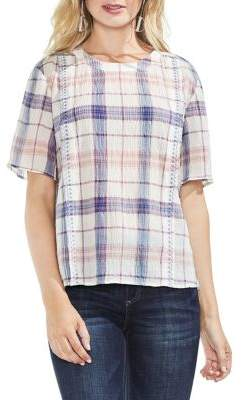 Vince Camuto Pavilion Plaid Short-Sleeve Blouse