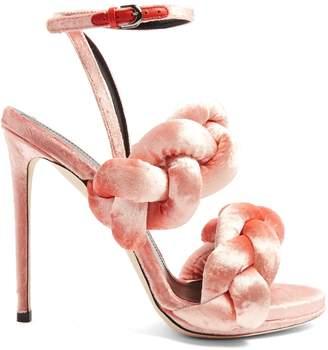 MARCO DE VINCENZO Plaited velvet sandals $671 thestylecure.com