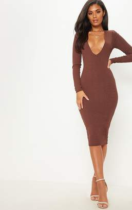 PrettyLittleThing Chocolate Brown Rib Shoulder Pad Plunge Midi Dress