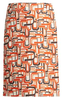 Prada U Print Wrap Style Cotton Skirt - Womens - Orange Print