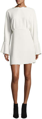 IRO Ivanoe Deep-V Back Bell-Sleeve Mini Dress, Ivory