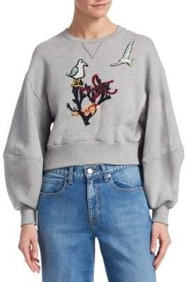 Oscar de la Renta Sea Embroidery Cropped Sweatshirt