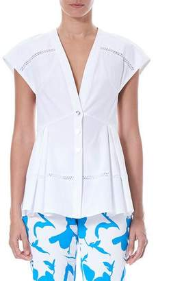 Carolina Herrera Deep-V Cap-Sleeve Cotton Poplin Blouse