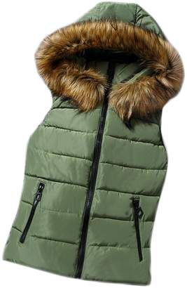 Rrive Womens Stand Collar Lightweight Faux Fur Hooded Quilted Vest L