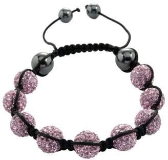Burgmeister Jewelry Women's Shamballa-Style Bracelet Pink Adjustable Length, various stones on JBM 1147–598 Fabric Black