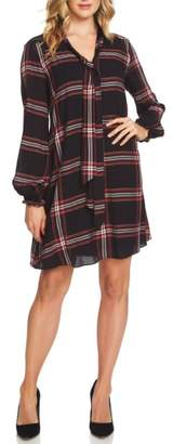 CeCe Tie Neck Metallic Plaid Woven Dress