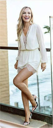 Hommage Cream Long sleeve Lace Romper