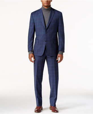 MICHAEL Michael Kors Men's Big & Tall Classic-Fit Medium Blue Double Windowpane Suit $695 thestylecure.com