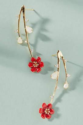Anthropologie Cascading Flowers Drop Earrings